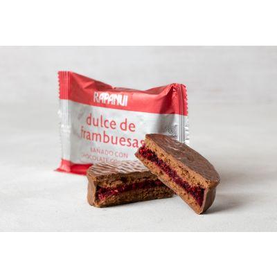Alfajor de Dulce de Frambuesas y bañado con Chocolate con Leche